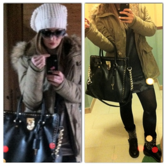 OOTD Parka white hat and Michael Kors